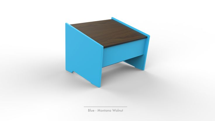Brio modern outdoor ottoman in Blue and Montana Walnut from 360Five Designs