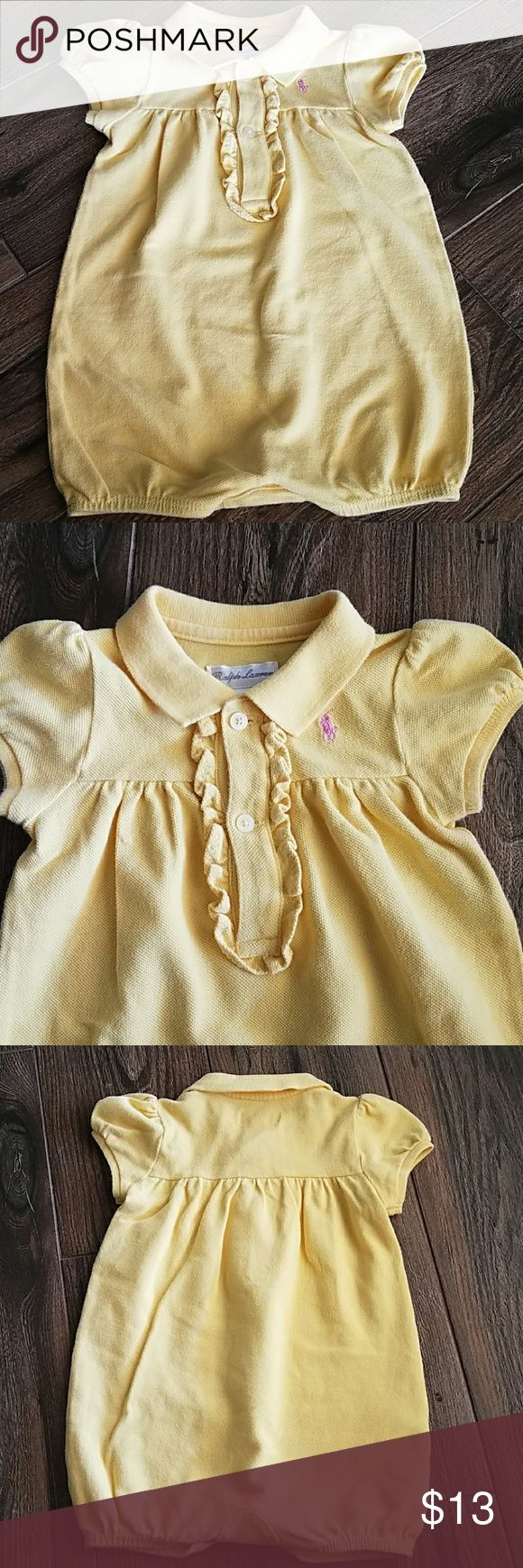 Ralph Lauren Baby Girl Romper Signature embroidered pink pony at left chest, ribbed polo collar, three button ruffled placket,puffed short sleeves with ribbed armbands Ralph Lauren One Pieces Bodysuits