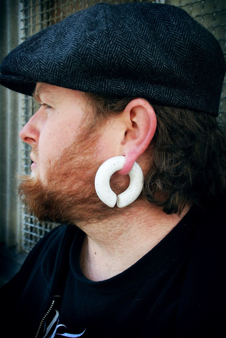Manly Line - White Granite Hoops - Earrings for Stretched Lobes - Gauges