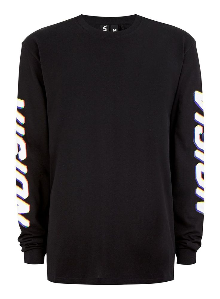 VISION STREET WEAR Black Blur Print Long Sleeve T-Shirt