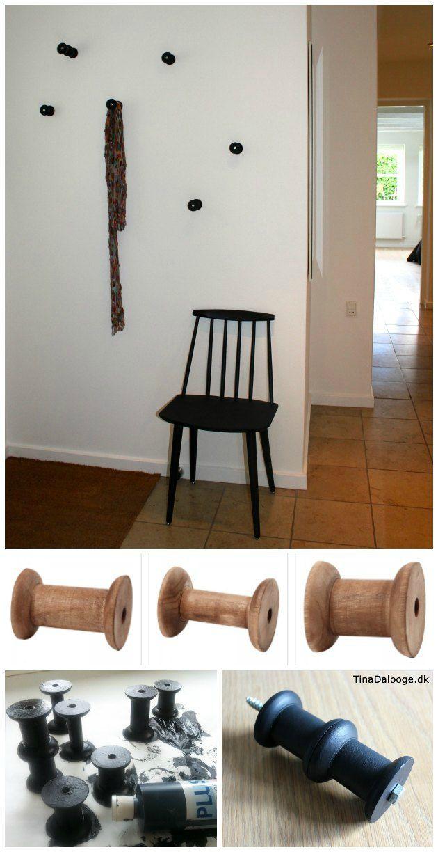 Anderledes knage lavet ud af træspoler idé fra Tina Dalbøges kreative blog - træspoler fra Tina Dalbøges Kreahobshop.dk