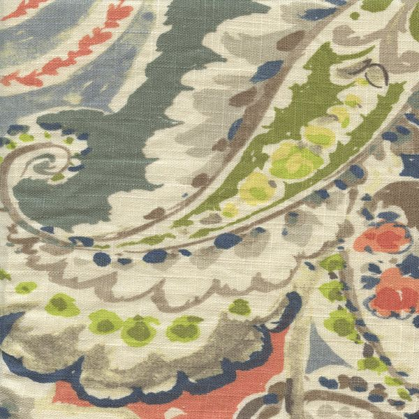 Aretha Coral is a gorgeous drapery fabric with large paisleys, flowers and leaves throughout. There is not much that this fabric will not look good with! Coral, browns, grays, blues, greens, and off-white are all present in Aretha Coral, and come together to make a bold yet beautiful statement. Aretha is perfect to inspire the look for an entire room or for adding a finishing touch. Drapes, pillows, headboards, bed skirts, comforters, duvet covers, foot warmers, and table toppers are just a…