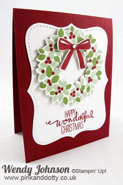 Stampin' Up! ... handmade Christmas card: Wondrous Wreath ... deep red card ... Top Note panel in bright white ... popped up wreath .... modern yet traditional look ... great card!