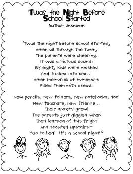"T'was the Night Before School Started poem and activity. Would be cute to mail out with your ""meet the teacher"" letter!"