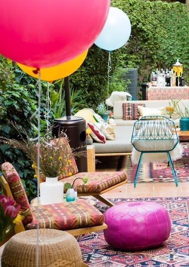 Colorful garden decorated for a boho-chic party