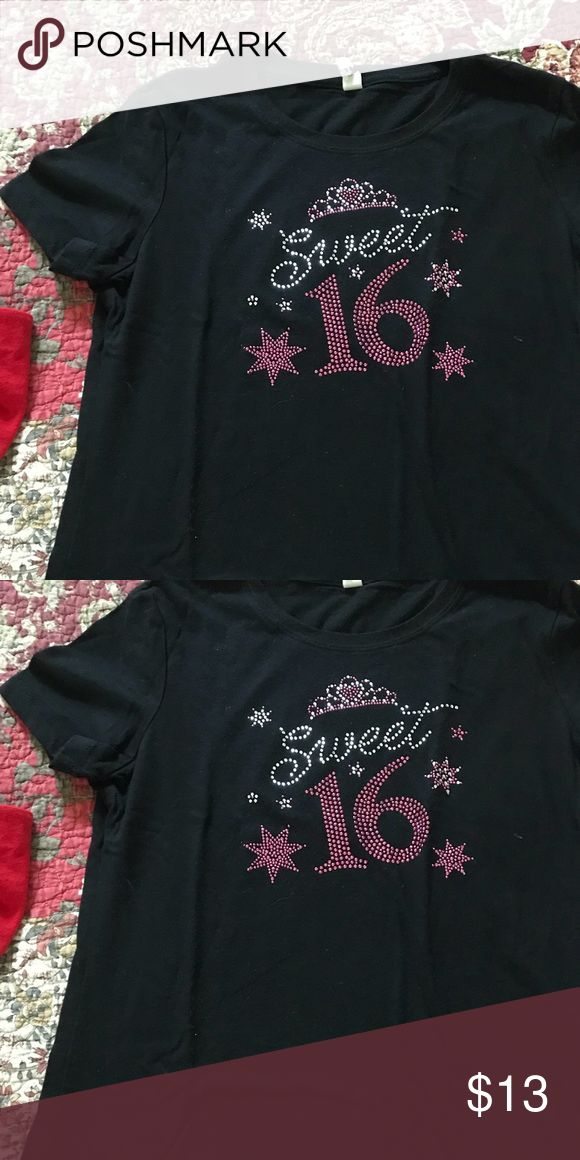 Sweet 16 T-shirt Sweet 16 T-shirt, bedazzled, with Tiara on top Tops Tees - Short Sleeve