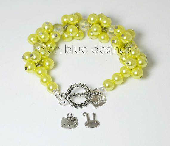Yellow Pearl Bracelet Yellow Cluster Charm Bracelet Pearl