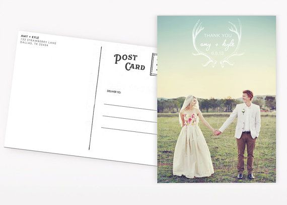 Wedding Thank You Postcards Antlers by violaprints on Etsy, $20.00