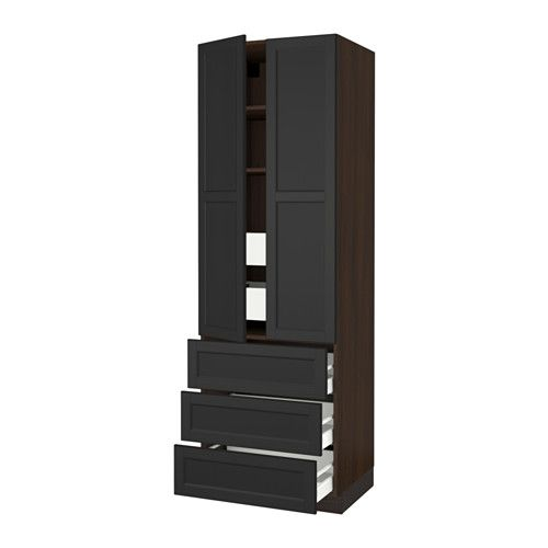 """SEKTION High cabinet w/2 doors & 5 drawers - wood effect brown, Laxarby black-brown, 30x24x90 """", Ma - IKEA"""