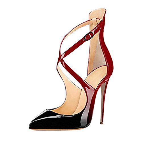 5ffac29689d Pointed Toe Crisscross Strappy Stiletto High Heels Crossdresser ...
