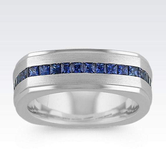 Square Cut Sapphire Mens Ring With Satin Finish 8mm From Shane Co