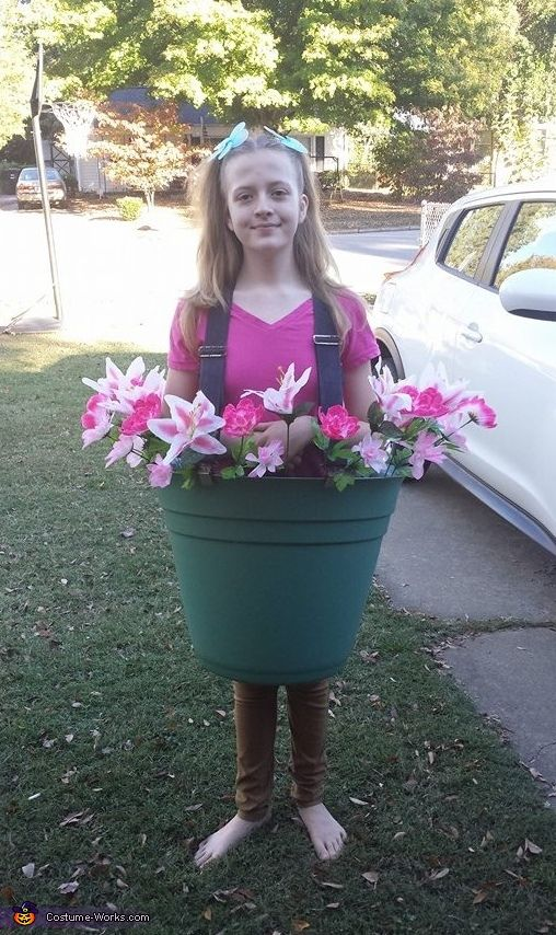 Desiree: My daughter is a flower pot this Halloween. It was a very easy costume to make and cost under $15. I bought the flower pot from Lowes on clearance for...