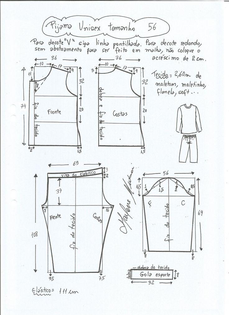 Patrón para hacer un pijama unisex, osea que sirve tanto para hombre como para mujer. Para hacer el pijama se puede utilizar tanto algodón como franela o similar. Tallas desde la 36 hasta 56, para hombres siempre una talla mas. Consultar tabla de medidas para la talla. Talla 36: Talla 38: Talla 40: …