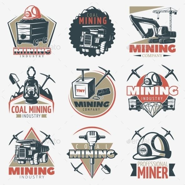 Coal Mining Emblems Set Coal Mining Coal Mining Logo