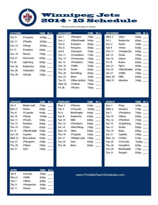 Winnipeg Jets Schedule 2014-15 #winnipeg #jets
