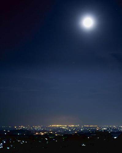 semarang - Indonesia,night scene with fullmoon