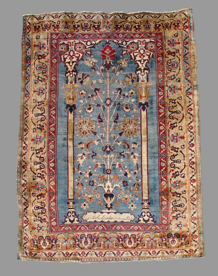 Silk Heriz prayer carpet.