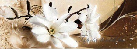 Fehér virág barna arany mintán öntapadós bordűr