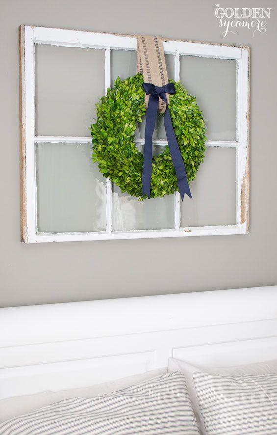 Foyer Window Quotes : Christmas boxwood wreath hang on large white rectangular