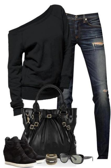 Black sweater, jeans, black bag, glasses and shoes for ladies. Definitely different shoes than these, though.