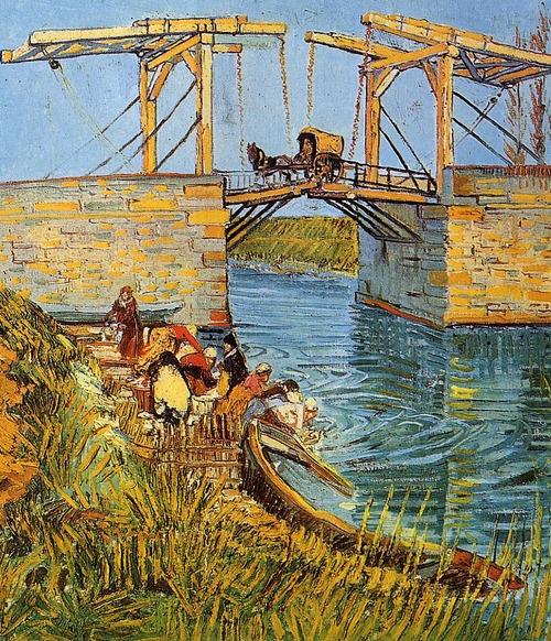 The Langlois Bridge at Arles with Women Washing 1    Artist: Van Gogh