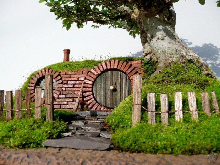 bag end bilbo baggins bonsai landscape hobbit house fair garden lord of the rings fairy. Black Bedroom Furniture Sets. Home Design Ideas
