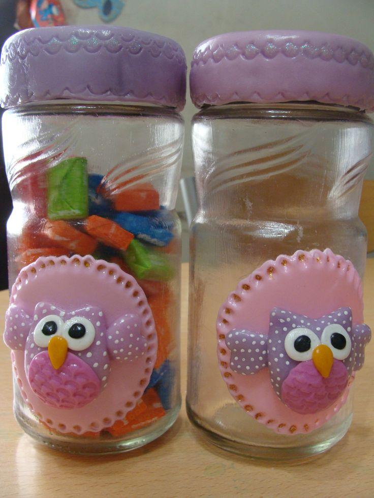 Frascos con buhos frascos con porcelana fria pinterest - Decoracion con buhos ...