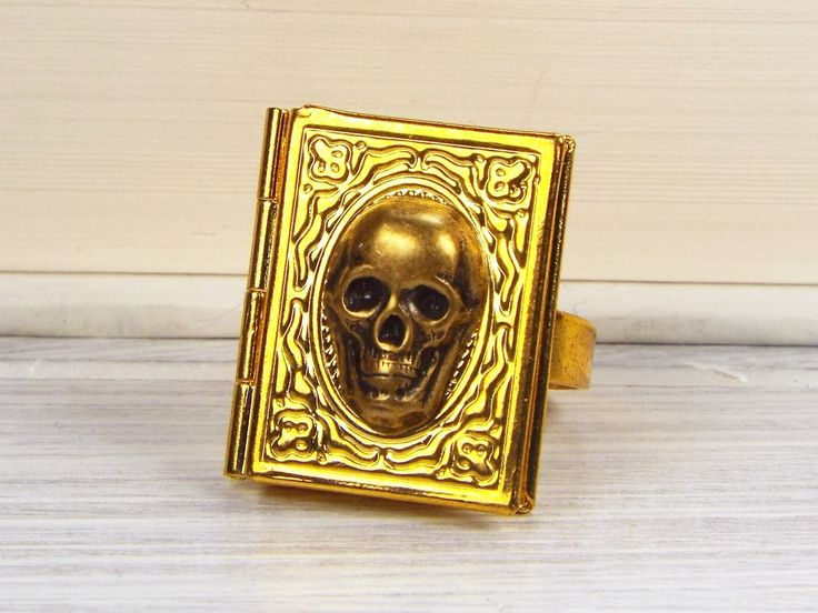 New to fripparie on Etsy: Skull Book Locket Poison Ring Goth Halloween Jewelry - Gold Plated and Brass (25.00 USD)