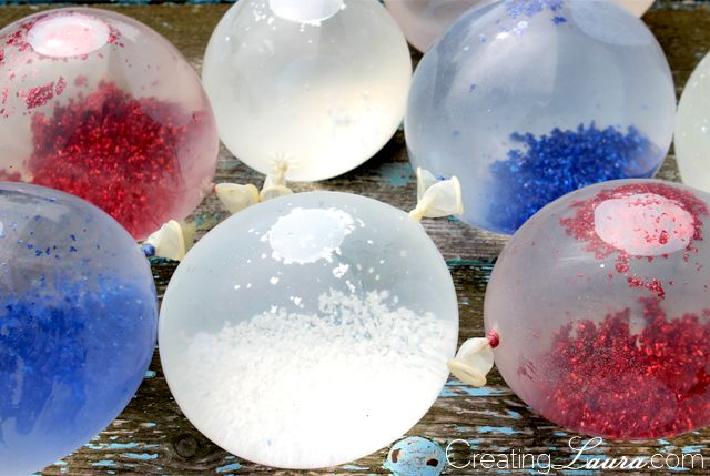 Glitter Water Balloons for the 4th of July