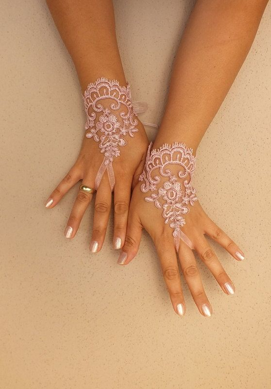 Wedding Gloves pink lace gloves by Etsy