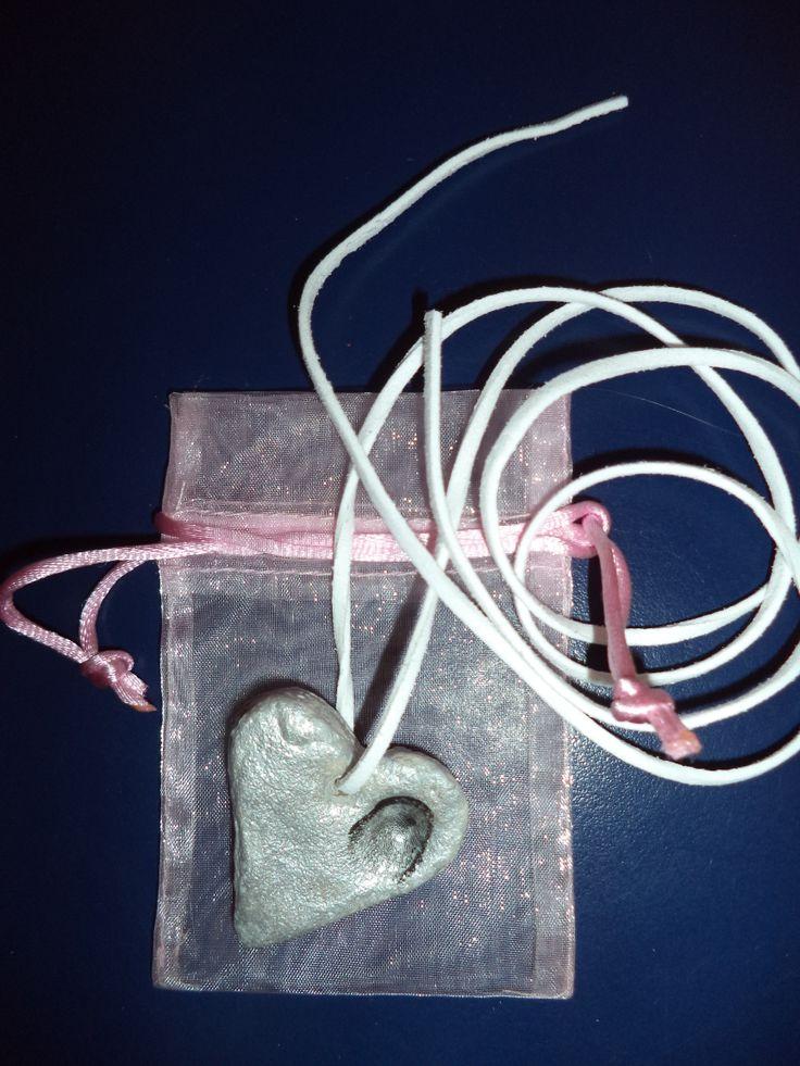 Moederdag: Hartje met vingerafdruk (ketting)