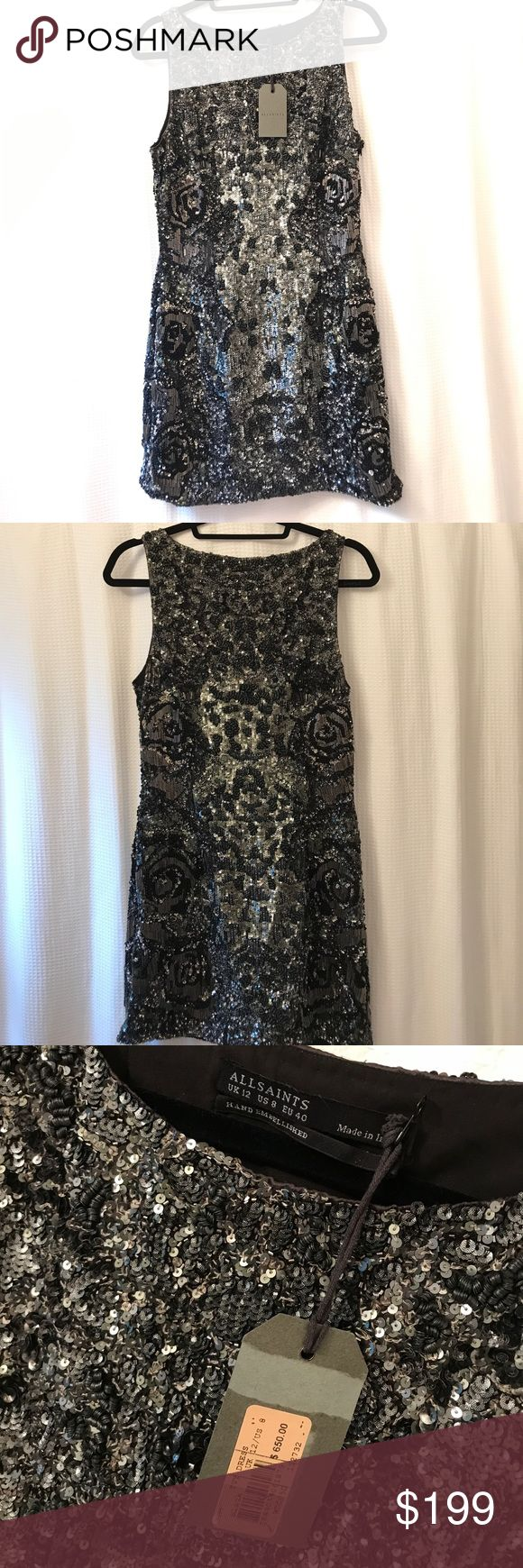 NWT  Allsaints IVY dress sequins & beads SALE Spectacular sparkly dress made from a technical fabric for increased structure. Features a floral motif through the sides blending into a leopard print at the front, gunmetal sequins and graphite beads are added for increased depth. Fully lined. US8=UK 12. Brand-new with tags, packet of extra beads and sequins included. Retail $650. All Saints Dresses