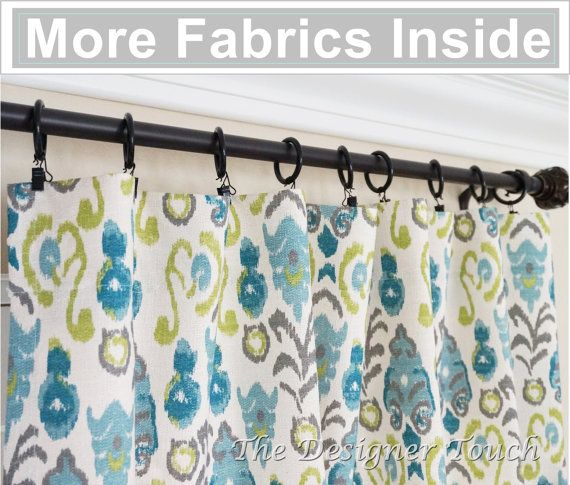 PAIR Peacock Curtain Panels.Kiwi Green Navy by TheDesignerTouch