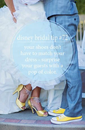 Bridal tip number 72: your shoes don't have to match your dress - surprise your guests with a pop of color