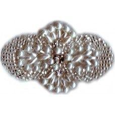 Glass Beaded Pearls Rhinestone Applique