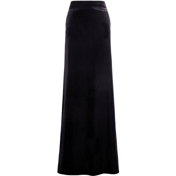 Velvet Maxi Skirt found on Polyvore featuring polyvore, women's fashion, clothing, skirts, faldas, long skirts, velvet maxi skirt, floor length skirts, velvet skirt and maxi skirt