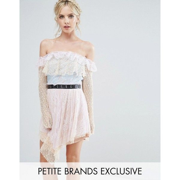 True Decadence Petite Allover Premium Lace Off Shoulder Tiered Mini... (167 CAD) ❤ liked on Polyvore featuring dresses, multi, petite, long sleeve short dress, long sleeve dress, petite cocktail dress, petite dresses and off the shoulder cocktail dress
