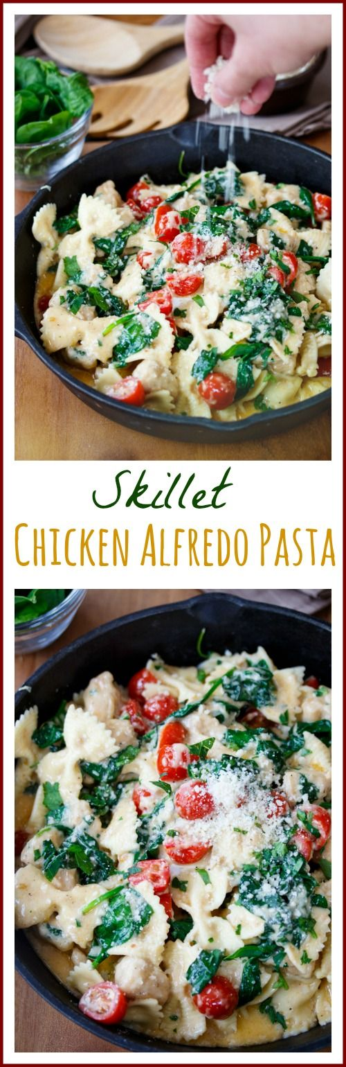 Bow tie pasta tossed in a rich & creamy alfredo sauce with chicken, spinach, and tomatoes. Ready in 30 minutes!