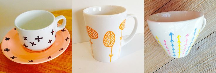 DIY Project - Hand Painted Cups - Clever Poppy.  Some examples of other design styles on vintage Crown Lynn cups