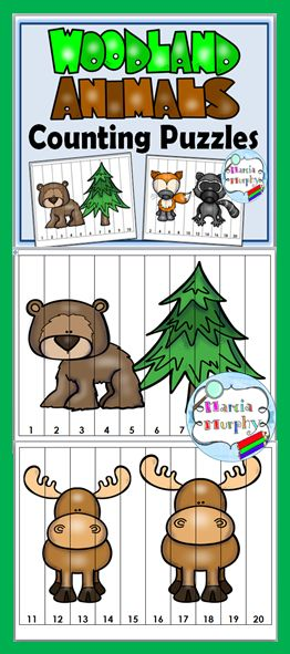 Counting Puzzles - Woodland Animals Theme - Free
