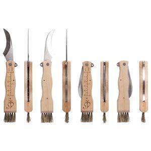 Couteau à champignon pliable avec brosse et échelle métrique