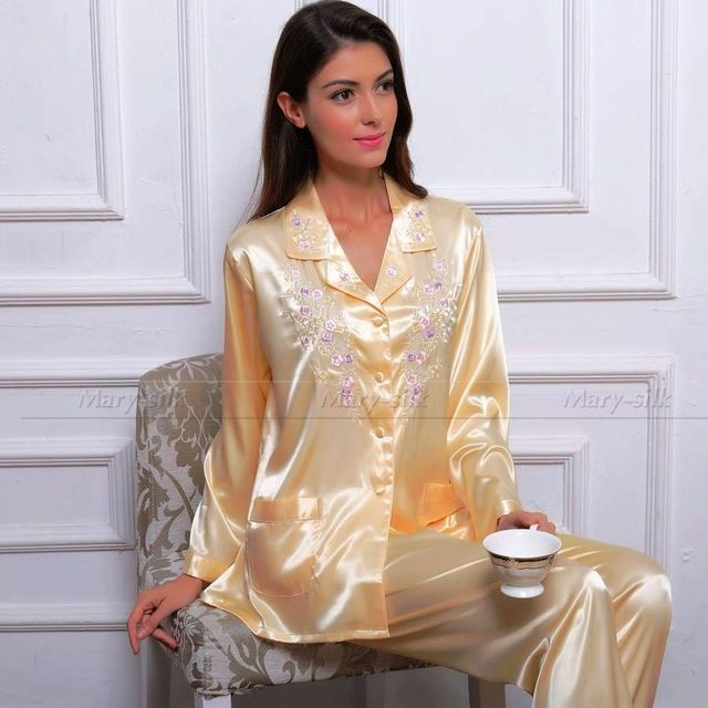 Женская Шелковый Атлас Пижамы Набор Пижамы PJS Набор Пижамы Установить Ночное Loungewear XS ~ 3XL Плюс Размер _ _ Подарки купить на AliExpress