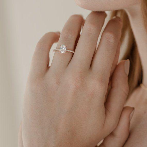 Oval Moissanite Ring | Rose Gold Engagement Ring | Eternity Band | Oval Moissani…