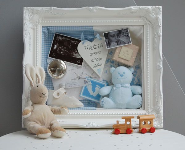 White shadow/memory box. I love this for a child's christening/baptism pieces.