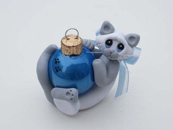 Polymer Clay Siamese Cat Christmas Ornament Lilac Point