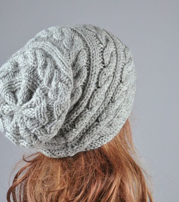 Hand Knit Hat Womens hat Slouchy Beanie cable Knit Hat by Ebruk ...