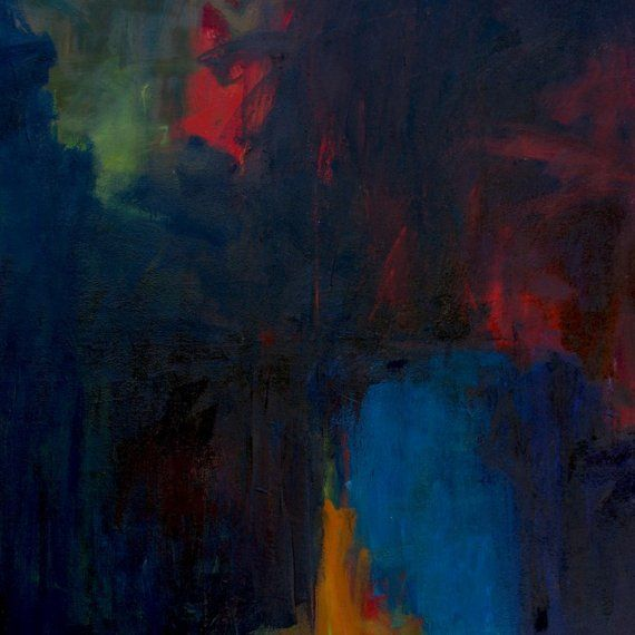 Night on 22nd Avenue LARGE ABSTRACT Painting 43 x by Furiousdreams, $6500.00