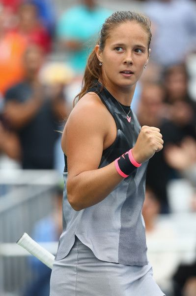 Daria Kasatkina of Russia celebrates defeating Jelena Ostapenko of Latvia during their third round Women's Singles match on Day Six of the 2017 US Open at the USTA Billie Jean King National Tennis Center on September 2, 2017 in the Flushing neighborhood of the Queens borough of New York City.