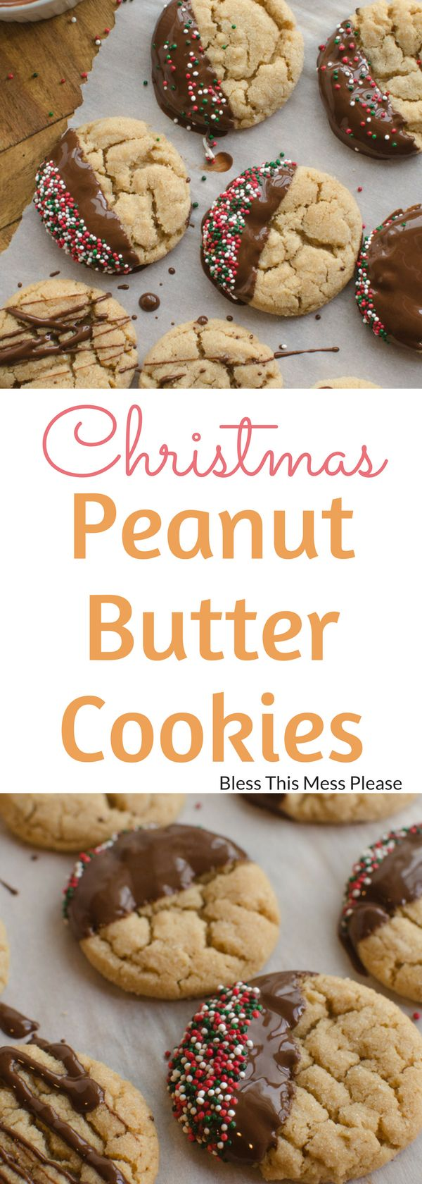 Christmas Peanut Butter Cookies ~ A dip in chocolate and some festive sprinkles turn year-round favorite peanut butter cookies into a delicious Christmas treat.