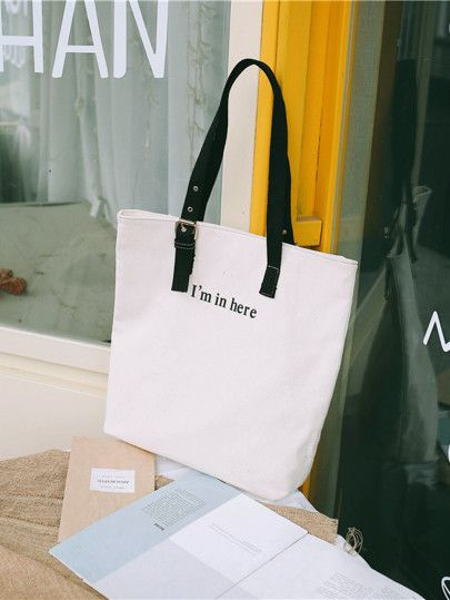 73acc3866a SheIn / Eyelet Decor Canvas Tote Bag | Bags | Bags, Canvas tote bags ...